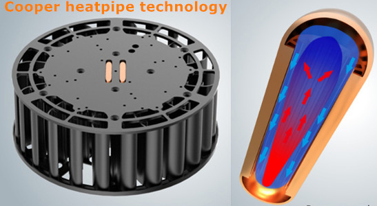 copper heat pipe for 100w led high bay lights
