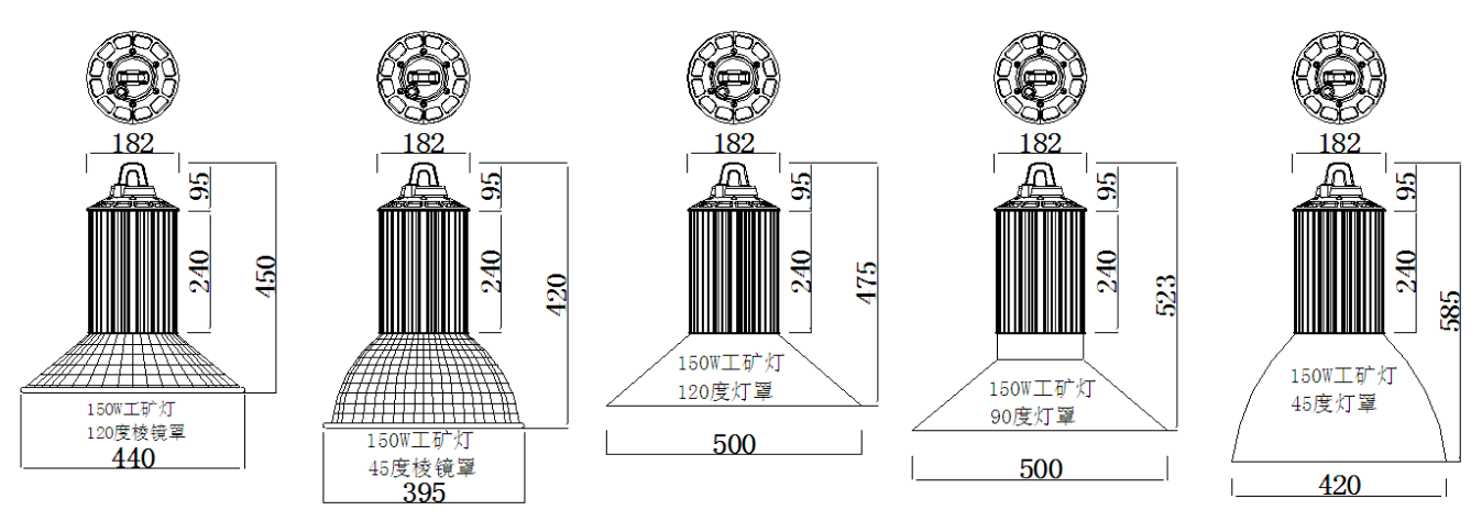 product size for 150W LED high bay lights