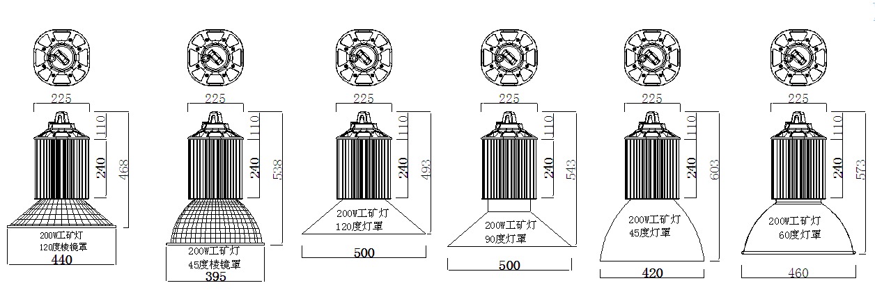 size for 200W industrial LED high bay lighting