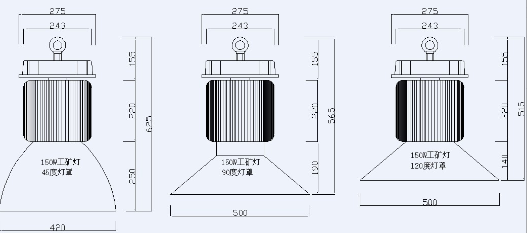 product size for 200W LED high bay lights