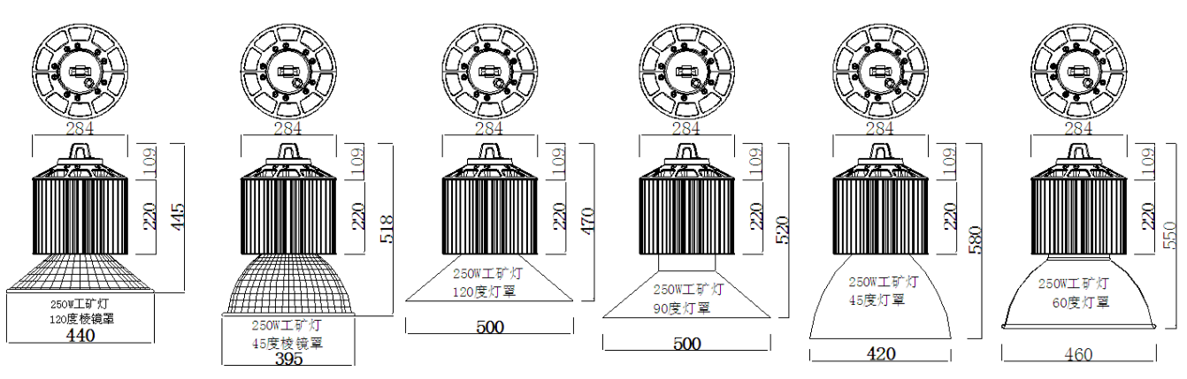 product size for 250W LED high bay lights