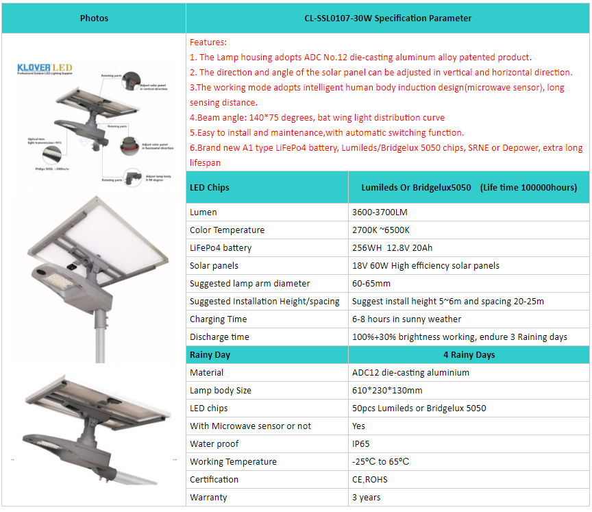China supplier for 30W separate solar street light
