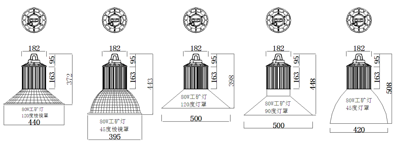 product size for 80W LED high bay lights