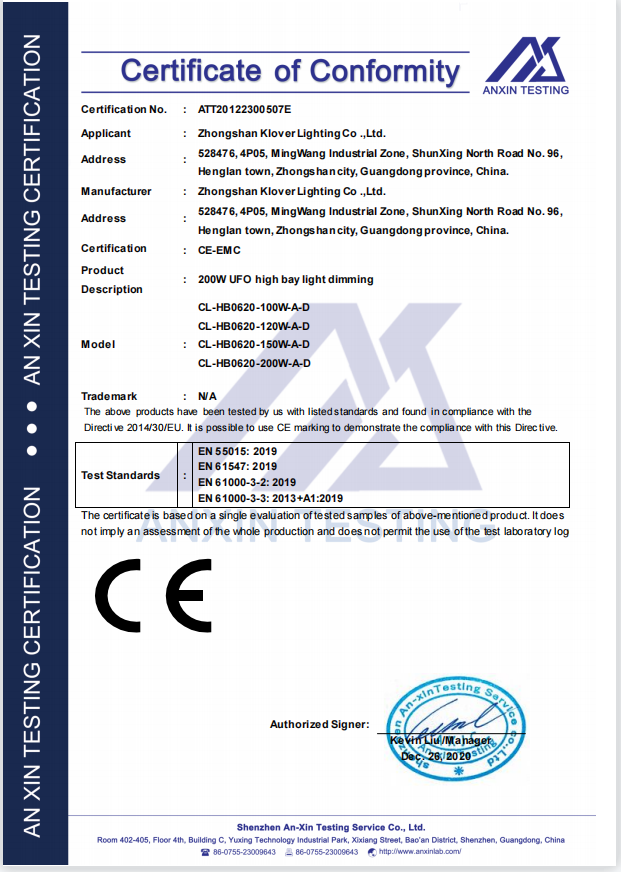 CE certification for high lumen UFO high bay light