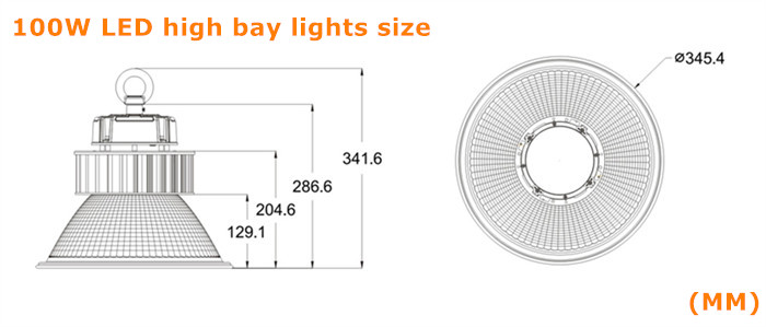 Product size for Osram SMD3030 100W LED high bay light