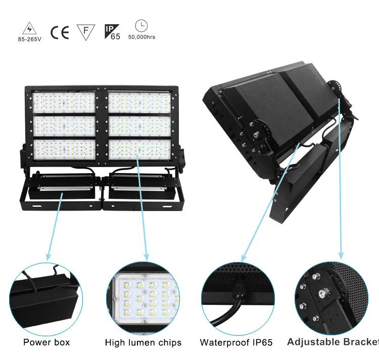 design features for 300-1000W led high mast light