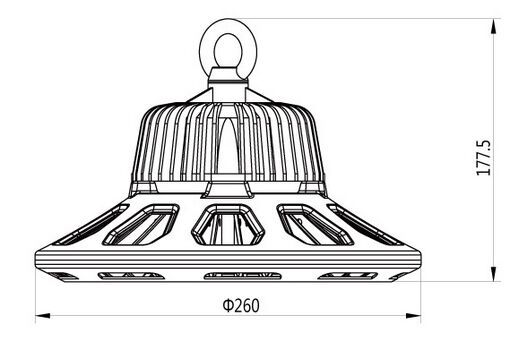 100W UFO LED high bay light size