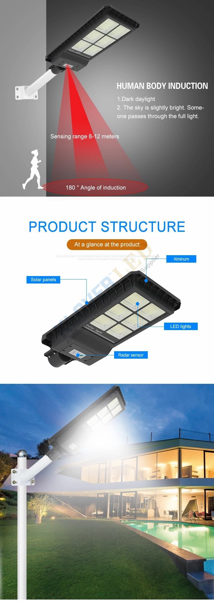 outdoor IP65 integrated all in one solar led street lamp