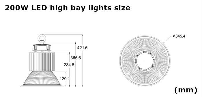 Philips or Osram SMD3030 200W LED high bay lights size