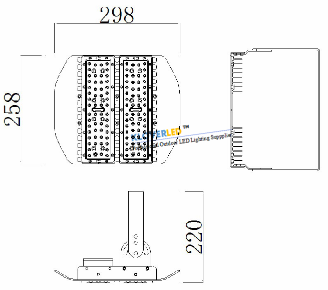 product size for IP65 100W LED flood lights