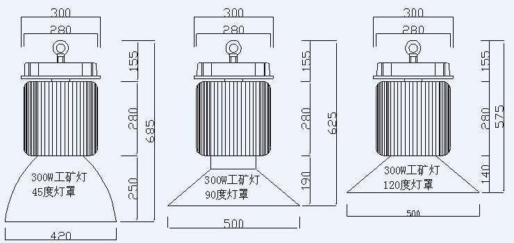 product size for high power 300W LED high bay lights