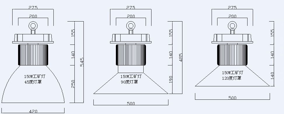 Product size for 120W LED warehouse lighting