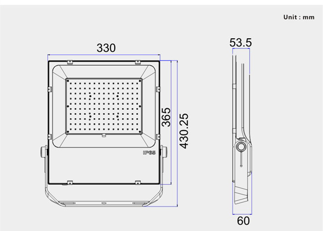 size for 150W LED flood lights