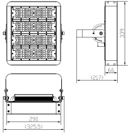 size for 200W LED tunnel lights