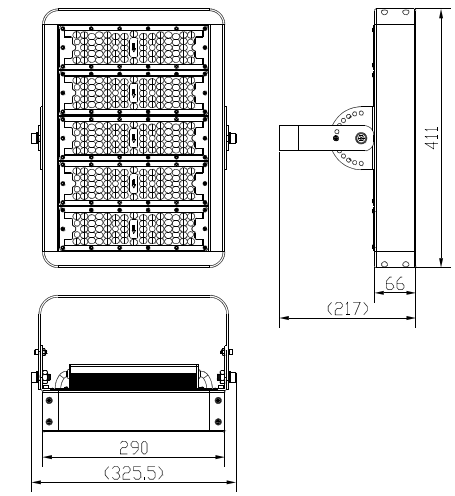 size for 250W LED tunnel lights
