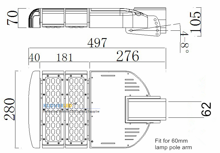 size for IP65 80W LED street lights